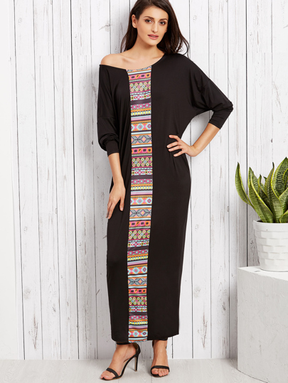 Black Tribal Print Drop Shoulder Long Sleeve Loose Maxi Dress