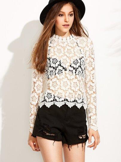 Beige Long Sleeve Hollow Crochet Blouse
