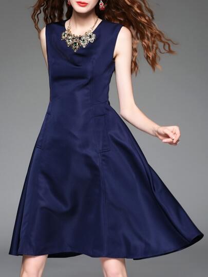 Vestido línea A sin mangas con bolsillo - azul marino