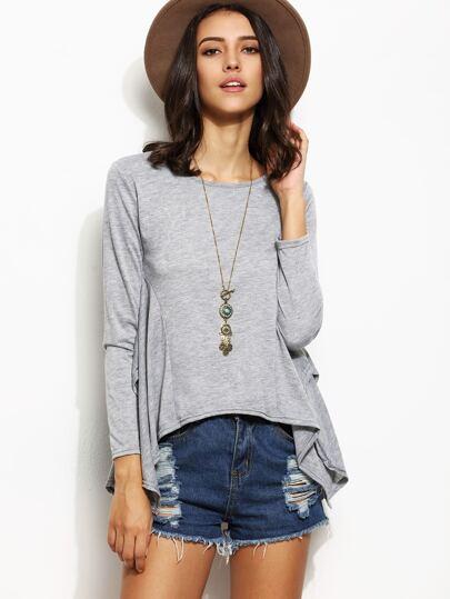 Grey Long Sleeve Asymmetrical T-shirt