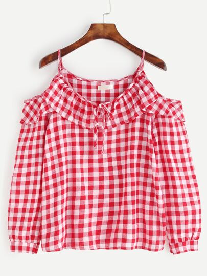 Red Gingham Cold Shoulder Ruffle Top