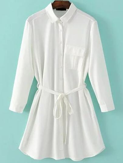 White Three Quarter Length Sleeve Self Tie Pocket Shirt Dress