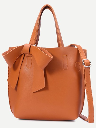 Khaki Faux Leather Bow Detail Tote Bag With Strap