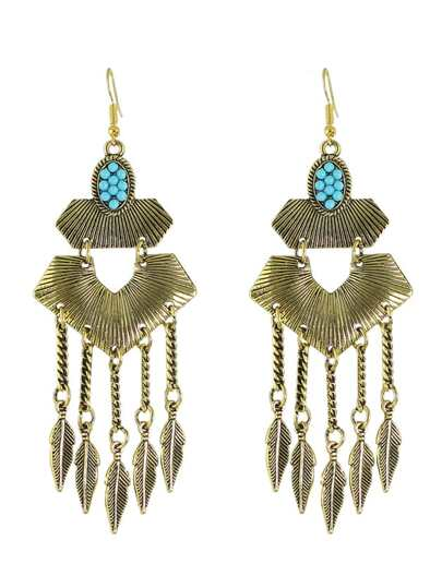 Antique Gold Indian Style Geometric Hanging Leaf Shape Chandelier Earrings