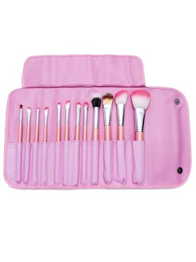 12PCS Pink Professional Makeup Brush Set With Bag