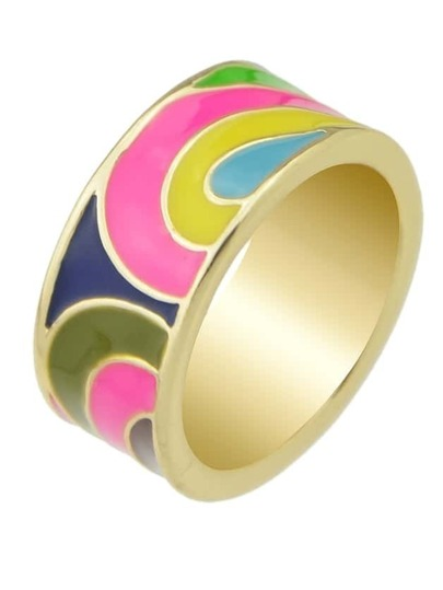 Hotpink Geometric Pattern Finger Boho Ring