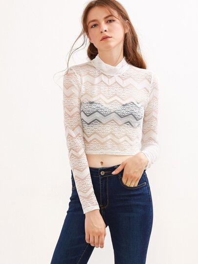White Mock Neck Lace Cover-Up Top