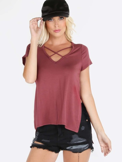 Classic Crossed V Neck Top RED BROWN