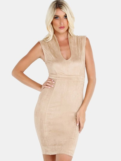 Plunging V Suede Bodycon Midi Dress LIGHT COCOA