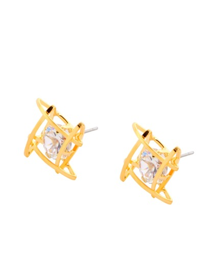 Gold Plated Rhinestone Geometric Hollow Out Stud Earrings