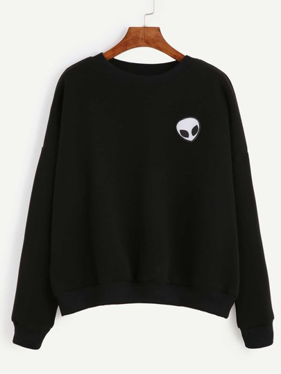 Black Drop Shoulder Alien Patch Sweatshirt