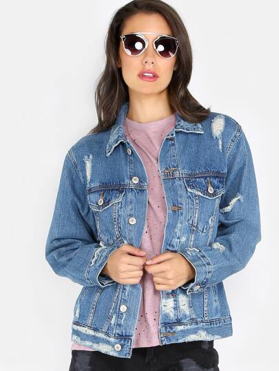 Distressed Denim Boyfriend Jacket DENIM