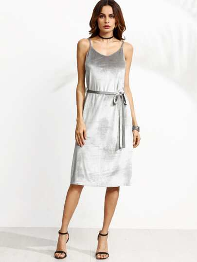 Grey Belted Velvet Cami Dress