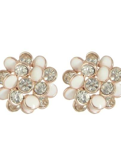 White New Rhinestone Enamel Flower Stud Earrings For Women