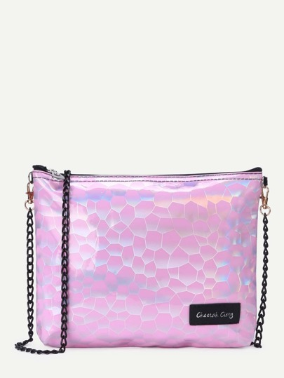 Pink Faux Leather Zip Closure Chain Bag