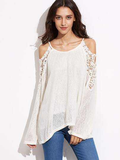 White Cold Shoulder Crochet Insert T-shirt