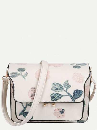 White PU Floral Print Flap Shoulder Bag