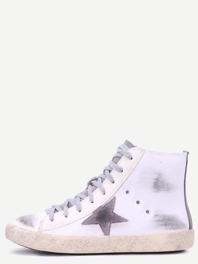 Chaussures plates de sport en cuir PU bout rond avec zip - blanc