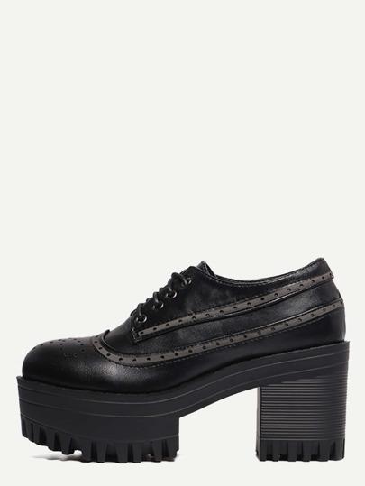 Schuhe Runde Zehen mit Schnürband - schwarz