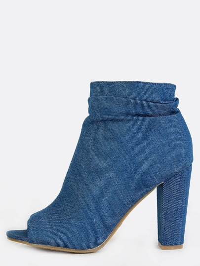Peep Toe Slouchy Denim Booties BLUE DENIM