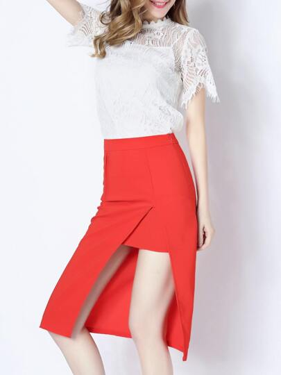 Red Beading Lace Top With Split Skirt