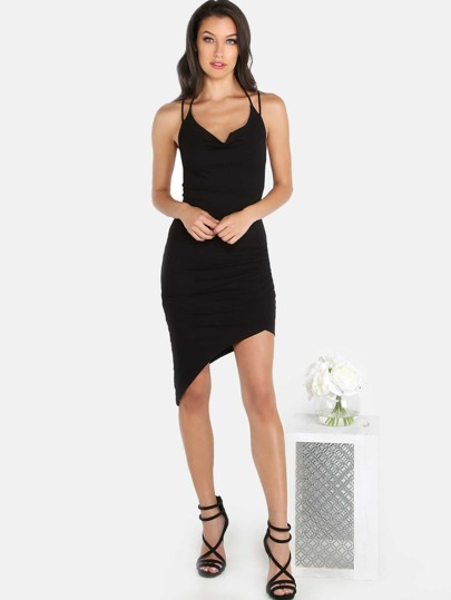 Asymmetrical Ribbed Mini Dress BLACK