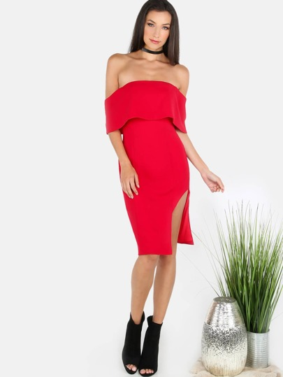 Off the Shoulder Side Slit Mini Dress RED