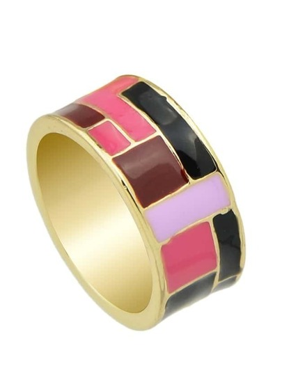 Pink Ethnic Enamel Finger Ring