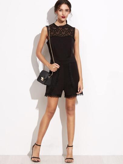 Black Crochet Lace Insert Zipper Back Romper