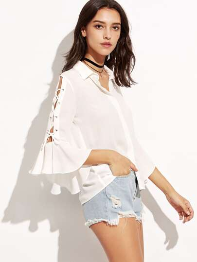 White Lace Up Bell Sleeve Hidden Button Blouse