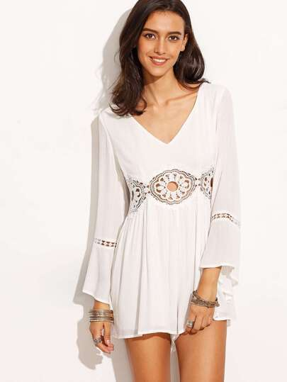 White V Neck Crochet Panel Bell Sleeve Jumpsuit