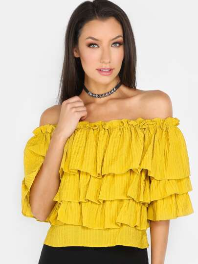 Bardot Neck Frill Tiered Top MUSTARD