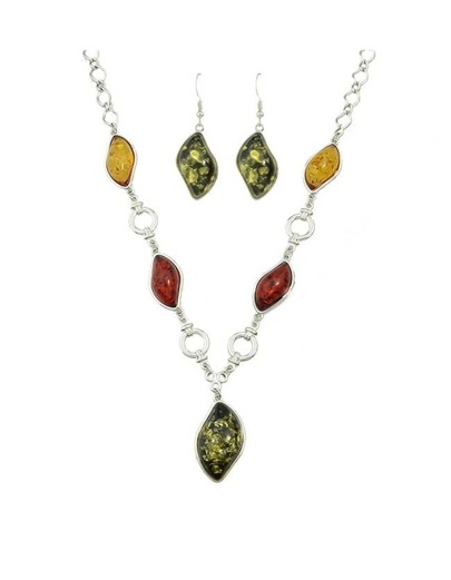 Green Resin Stone Pendant Jewelry Set