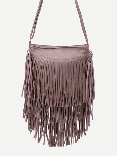 Pink Faux Leather Fringe Zipper Shoulder Bag