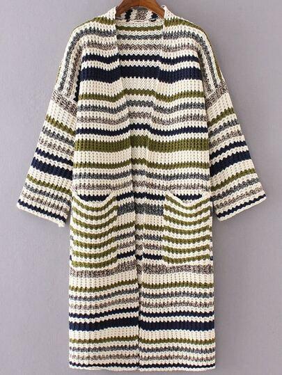 Green Mixed Stripe Collarless Drop Shoulder Long Sweater Coat