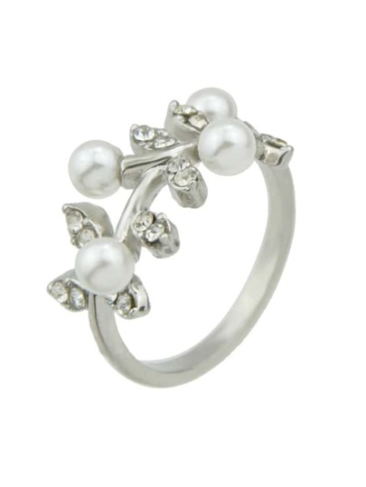Silver Imitation Pearl Rhinestone Leaf Shape Statement Ring For Women