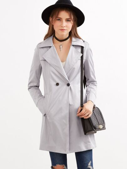 Grey Lapel Knee Length Trench Coat With Buttons