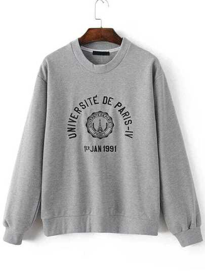 Grey Tower Embroidered Long Sleeve Sweatshirt