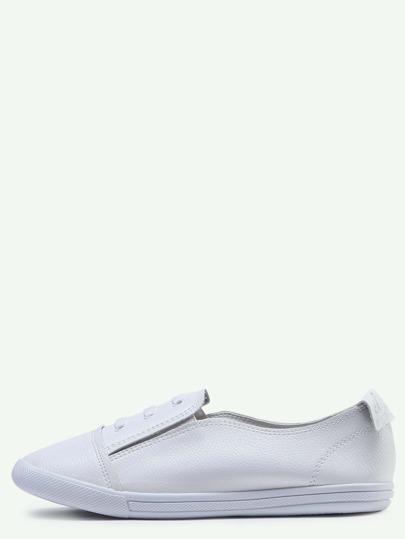 Chaussures élastiques en cuir tendance - blanc