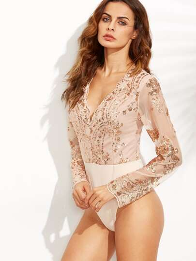 Scalloped V Neck Sequins Embroidered Bodysuit