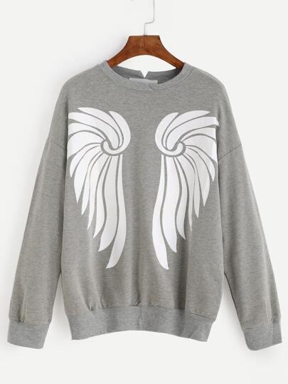 Grey Drop Shoulder Wings Print Sweatshirt