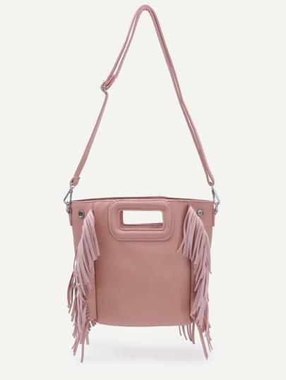 Pink Cut Out Handle Fringe Shoulder Bag