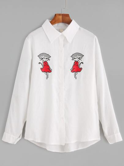 White Foxes Embroidered Dip Hem Shirt