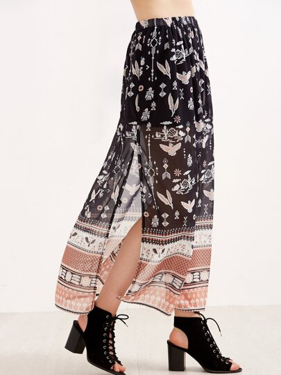 Black Birds Print Split Chiffon Maxi Skirt