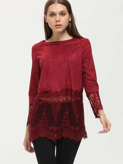 Wine Red Lace Splicing Blouse