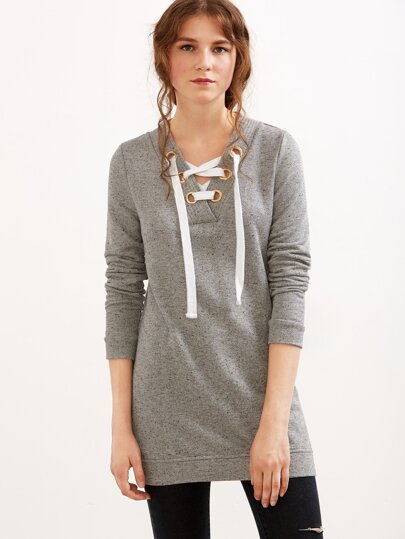Grey Lace Up V Neck Fleck Sweatshirt