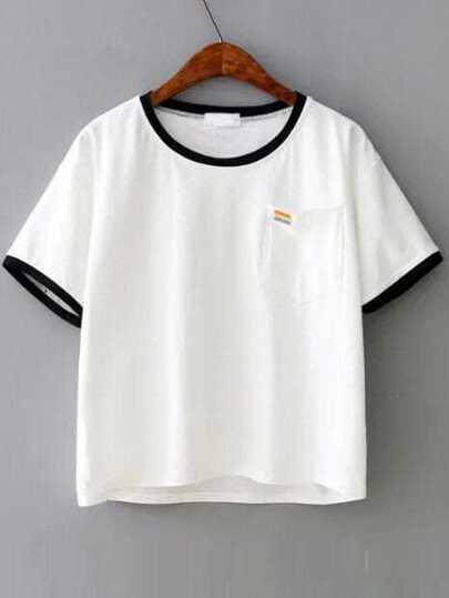 Contrast Trim Pocket T-Shirt