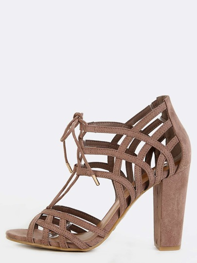 Tie Up Cut Out Chunky Heels TAUPE