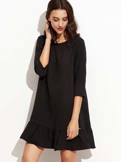 Black 3/4 Sleeve Ruffle Hem A Line Dress