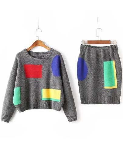 Dark Grey Color Block Drop Shoulder Sweater With Skirt